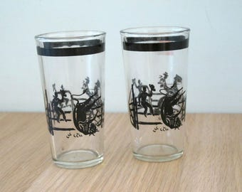 Two Vintage Cowboy Western  Glasses