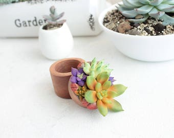 Green Purple Succulent Ring Box Bearer Case Wooden Round Decorated Engagement Ring Holder Proposal Ring Case Gift Home Decor Wedding