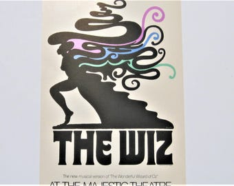 Vintage Theater Card: The Wiz Authentic 1974 Window Card, Broadway Memorabilia