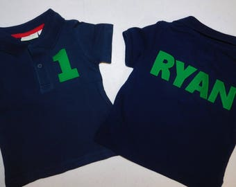 Front and back - Boy, toddler white or navy polo SHIRT with kelly green  personalized birthday number, name on back appliques