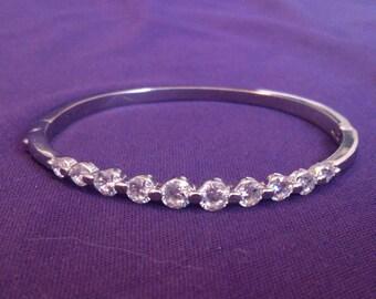 Vintage Silver Tone Rhinestone Hinged Bangle Bracelet