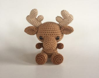 Baby Moose - Made To Order - Crocheted Moose - Moose Amigurumi - Baby Moose