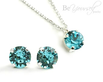 Teal Blue Bridal Earrings Sea Green Bride Necklace Bridesmaid Gift Studs Swarovski Crystal Light Turquoise Wedding Jewelry Something Blue