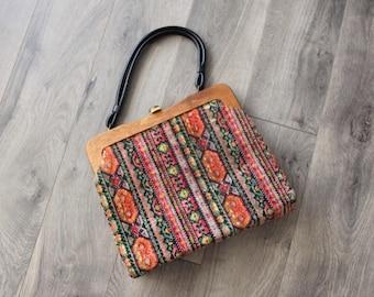 1960s Tapestry Handbag Large Rich Colors Carpet Velour Wood Frame Womens Vintage Purse