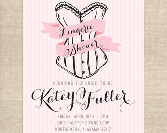Printed Lingerie Shower Invitations