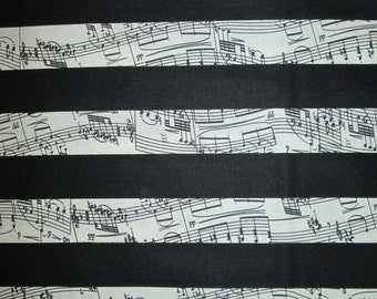 Music Piano Keyboard Black Stripes Cotton Fabric Fat Quarter or Custom Listing