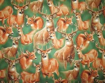 Realistic Deer Bucks Doe Green Cotton Fabric Fat Quarter or Custom Listing