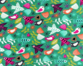 Bird Fabric -  Cotton Fabric - Green Fabric - Folk Art Fabric - Pink - Nursery Fabric - Baby Fabric - Dove Fabric - Fabric - By Yard