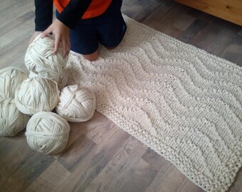 28'' x 48'' Wave Chunky Soft Natural Cotton Hand Knit Rope Rug Rectangular Big Stich Soft. Mega Big Knitting.