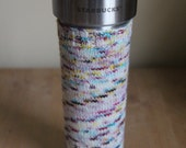 Tumbler with Cozy: Starbucks Tumbler & Handknit Speckled Cozy