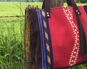 Medium Tote Bag // Red Pendleton Chap Leather with Tassel // Rosebud Originals