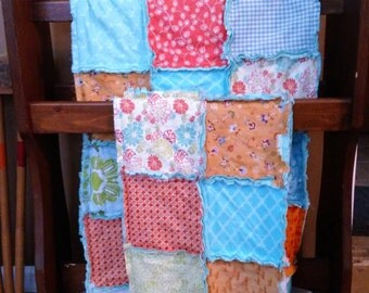 """Rag Quilt Shabby Chic Baby Crib 33"""" X 33"""" AngelKaringQuilts READY 2 SHIP Cottage Chic aqua turquoise coral blue orange quilt"""