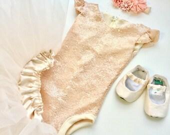 Sequin Baby Girl Onesie Leotard Formal Bodysuit Romper Peach Nude Colored