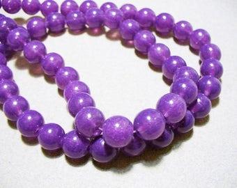 Jade Glass Beads Purple Round 10MM