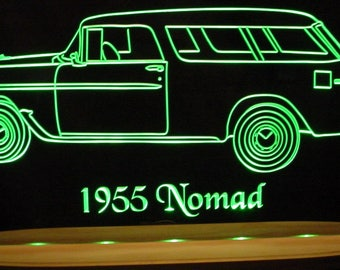 "1955 Nomad Acrylic Lighted Edge Lit LED  Sign Awesome 21"" VVD1 Full Size Made in USA"