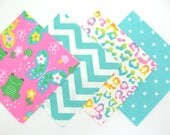 Quilt Square Clearance Grab Bag in a Pink Frog and Butterfly Matching Prints 50 Squares