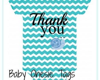 Onesie Chevron Baby Tags Blue Digital Download File