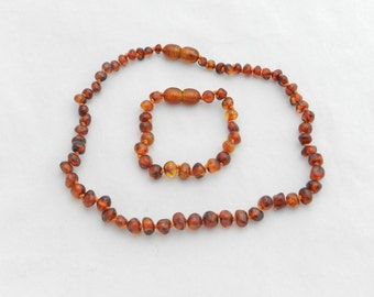 Amber Teething Necklace and Bracelet Set Baltic Amber Pain Relief Choose your color