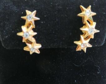 Row of Stars Screw Back Earrings, Vintage Star Earrings