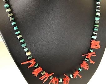Genuine Coral and Tuquoise Disc and Black Glass Bead Necklace