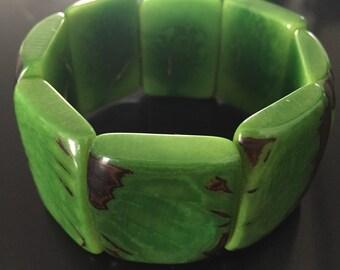Tagua Bracelet/ Tagua Cuff/ Green Tagua Bracelet/ Eco Friendly/ Eco Fashion
