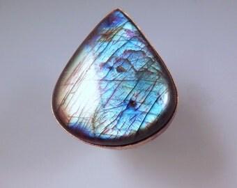 Labradorite Teardrop- Multi Color Swirl Patina- One of a Kind- Metal Art RedPaw Statement Ring