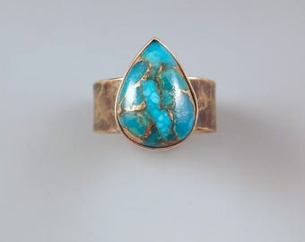 Turquoise Teardrop- Smoky Bronze Patina- Hammered Metal- Adjustable Size- Metal Art Ring by RedPaw