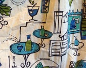Cafe Fabric Remnant.   Vintage 1950. Mid century modern, Danish Modern, Eames era.  Blue, green, black & white.