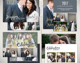New Years Card Templates: Confetti - Set of Four 5x7 Happy New Year Card Templates for Photographers