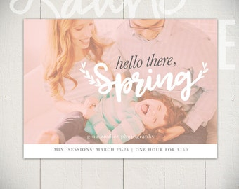 Spring Mini Session Marketing Board - Easter Card Template - Hello Spring D - INSTANT DOWNLOAD