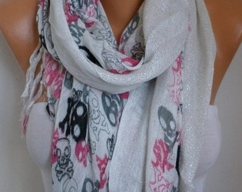 ON SALE --- ON Sale - Skull  Cotton Scarf Christmas Gift Shawl Crossbones Gift Ideas For Her Women Fashion Accessories fatwoman