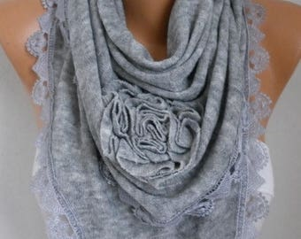 ON SALE --- Gray Knitted Floral Scarf, Shawl Cowl Lace Bridesmaid Gift Bridal Accessories Gift Ideas For Her, Women Fashion Accessories