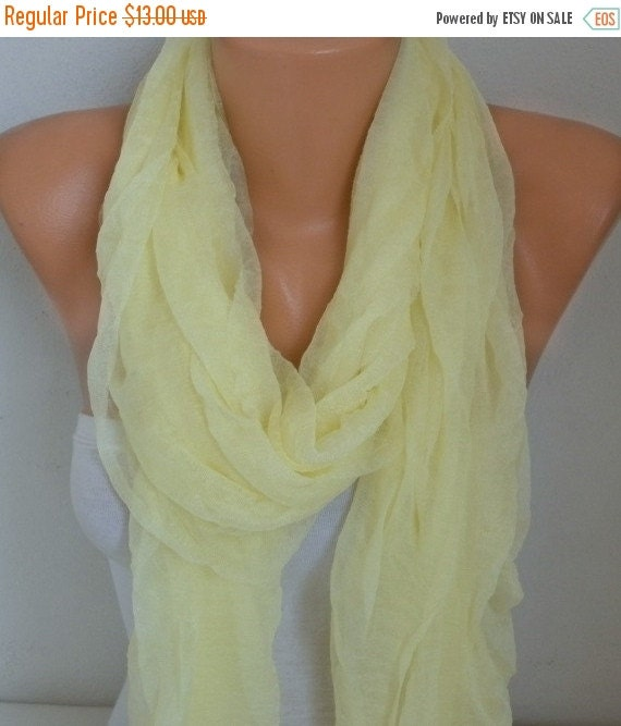 ON SALE --- Light Yellow Tulle Scarf,Wedding Scarf,Bridal Scarf,Gift Ideas for Her,Women Scarves