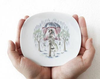 Mid Century Porcelain Little Plate with French Peynet Lovers Drawing by Rosenthal Fine China