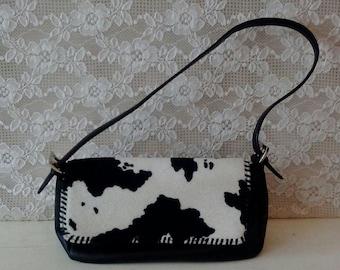 Vintage Purse, Handbag, Cow Print Clutch, Black and white Animal print bag, 1980's, 1990's accessories