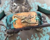 Turquoise leopard leather sparrow cuff - SOAR - spring inspired bird artisan bracelet boho by slashKnots
