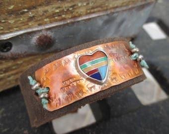 Southwestern heart distressed leather bracelet - Hearts on Fire - colorful rustic multi colored boho by slashKnots