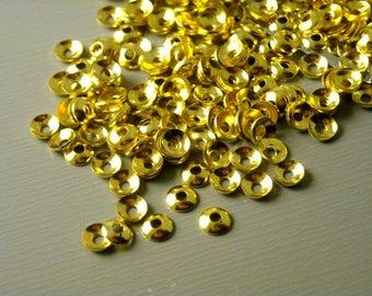 BEADCAP-G-3MM - Mini Bead Caps, 14k Gold Plated - 50 pcs