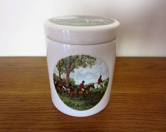 Stebbing Green Old Ryes Hunt scene porcelain canister cache pot by Aviemore Pottery Scotland.