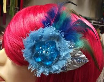 Blue crystal flower and feather Hair Clip Facinator, Festival Hippie Gypsy Boho Chic
