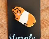 Guinea Pig Brooch/pin/button/badge.Ceramic/Porcelain.Cute animal jewellery.Animal brooch.Handmade in Wales ,Uk