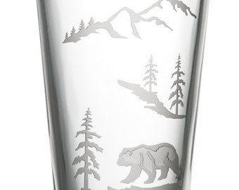 Bear, 16oz Glass, etched (Sandblasted), Original Design