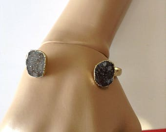 Drusy Druzy natural Druse from Uruguary Drusy cuff bracelet  gold electroplated real untreated Drusy Jewelry