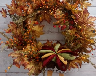 Thanksgiving Wreath-Holiday Wreath-Holiday Decor-Thanksgiving Decor-Thanksgiving Door Wreath-Door Wreath-Holiday Door Wreath-Fall Wreath