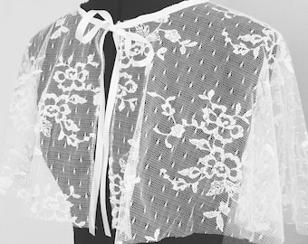 Bridal Floral Lace Capelet with satin tie, ready to ship