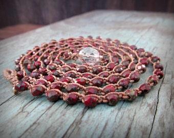 Boho Wrap Bracelet or Necklace, Southwestern Red Bohemian Crochet Bracelet, Earthy Rustic Bohemian Jewelry