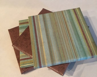 Teal, Green, and Cream Ceramic Coasters
