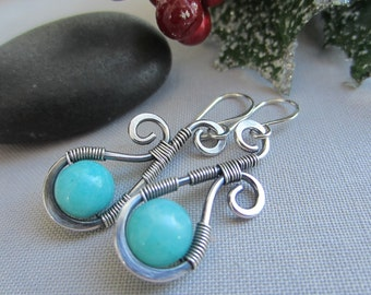 SALE 20% OFF/ Silver Wire Earrings/ Hammered Earrings/Amazonite Earrings/ Wire Earrings with Amazonite/ Artisan Earrings
