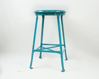Old industrial metal stool, Vintage metal and wood stool, Chippy painted stool, Rustic farmhouse
