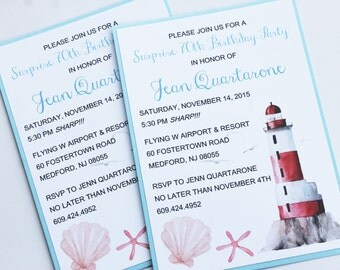 By the Seaside Lighthouse Invitation